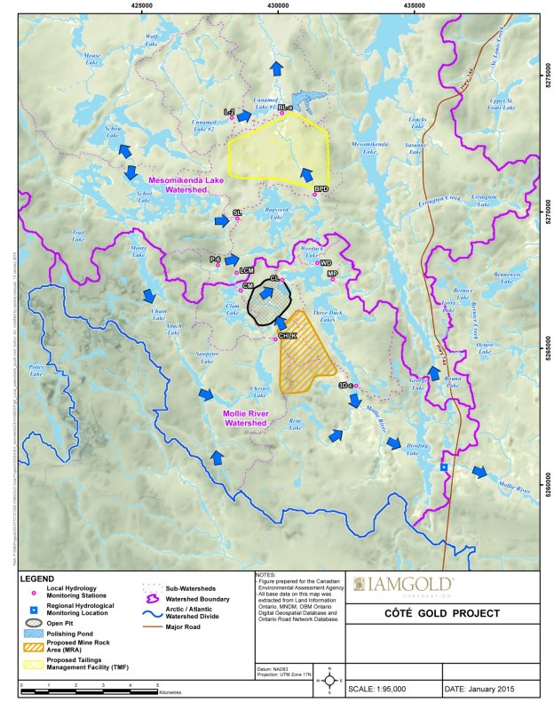 A map delineating local watersheds and existing water flow directions within the surrounding area extending beyond the aquatic biology local and regional study areas.