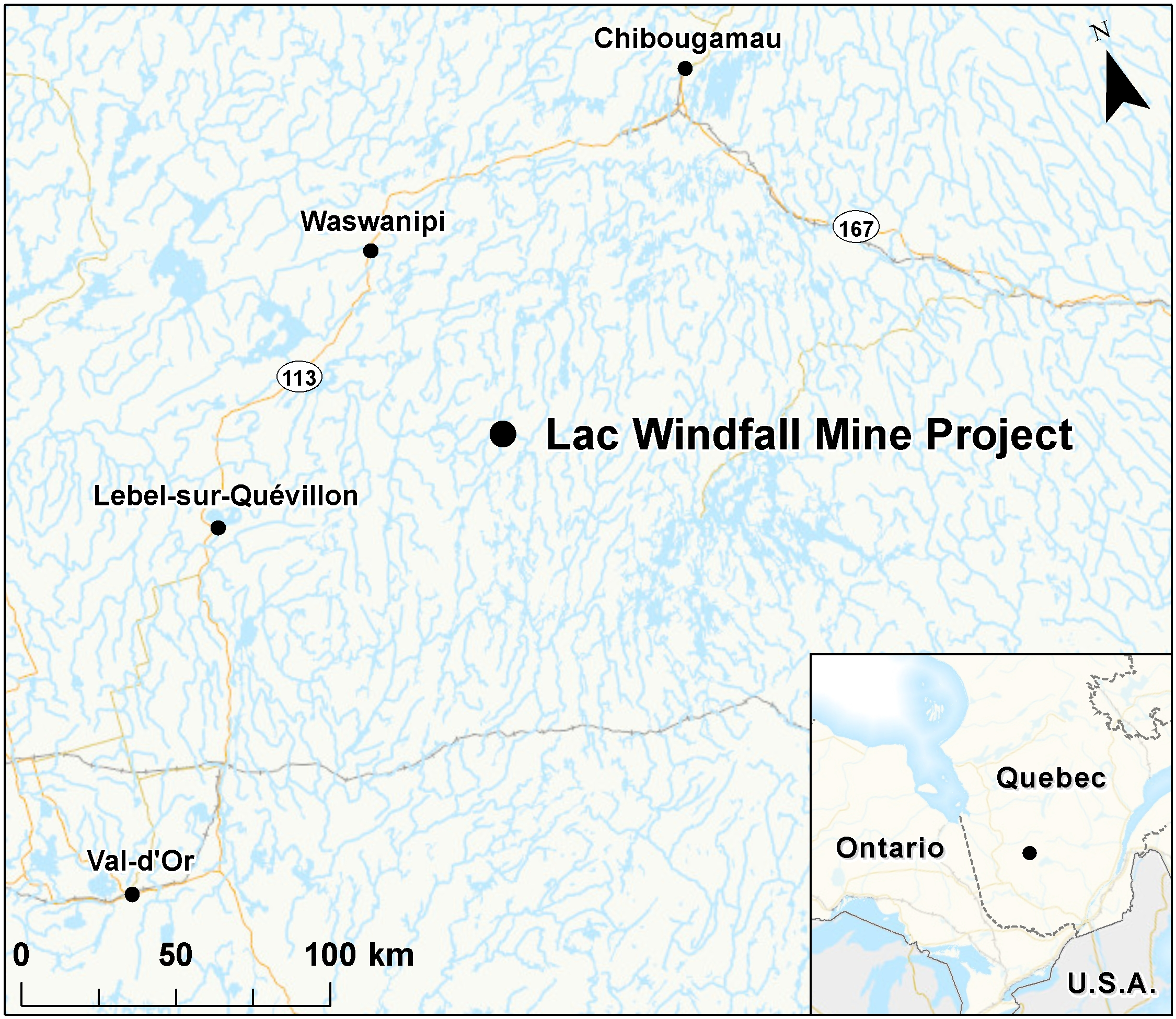 Lac Windfall Mine Location